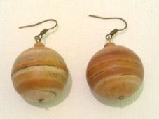 Stripy round wooden earrings